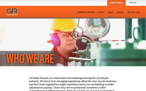 Screenshot of About Page gradyrentals.com - Grady Rentals | A Leader in Oilfield Equipment Rental - captured Sept. 29, 2018