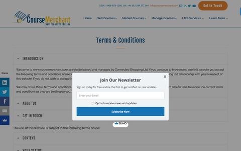 Screenshot of Terms Page coursemerchant.com - Course Merchant | Terms & Conditions - captured July 22, 2018