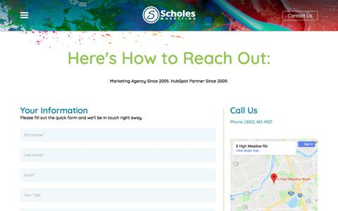 Screenshot of Contact Page scholesmarketing.com - Contact Scholes Marketing | Boston Inbound Marketing Agency - captured July 8, 2018