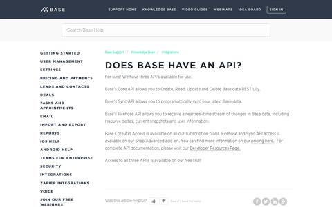 Screenshot of Support Page getbase.com - Does Base have an API? – Base Support - captured Oct. 9, 2018