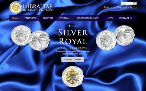 Screenshot of Home Page gibmint.com - Gibraltar International Mint - The Silver Royal - Silver Coin - captured Oct. 2, 2014