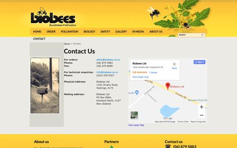 Screenshot of Contact Page biobees.co.nz - Biobees - Contact Us - captured Oct. 5, 2018