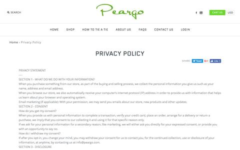 Screenshot of Privacy Page peargo.com - Privacy Policy - captured May 15, 2017
