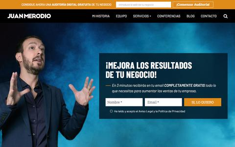 Screenshot of Home Page juanmerodio.com - Juan Merodio - Marketing, Innovación y Transformación Digital - captured Nov. 18, 2019