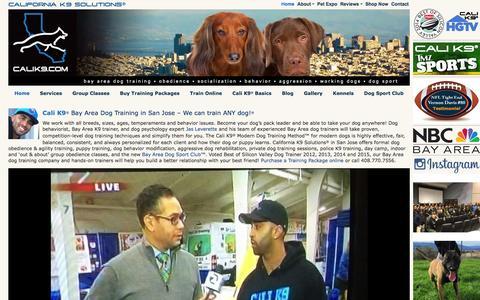 Screenshot of Home Page calik9.com - Dog Training San Jose, Bay Area Dog Training, Dog Obedience - captured Jan. 24, 2016