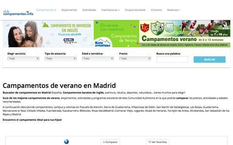 Screenshot of campamentos.info - Madrid - captured Aug. 22, 2016