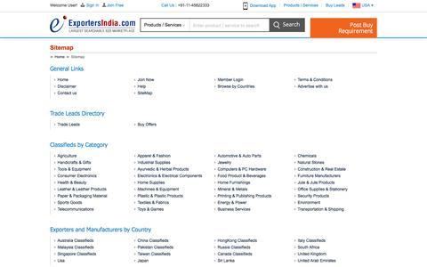 Screenshot of Site Map Page exportersindia.com - Site Map - ExportersIndia.com - captured July 23, 2018