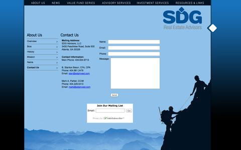 Screenshot of Contact Page sdginvest.com - SDG Real Estate Advisors - captured Oct. 3, 2014