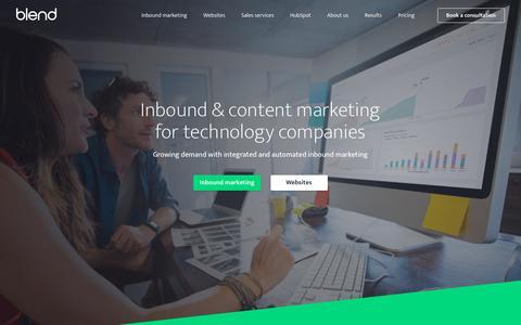 Screenshot of Home Page blendb2b.com - B2B Inbound Marketing Agency   B2B Technology Marketing Agency - captured July 8, 2019