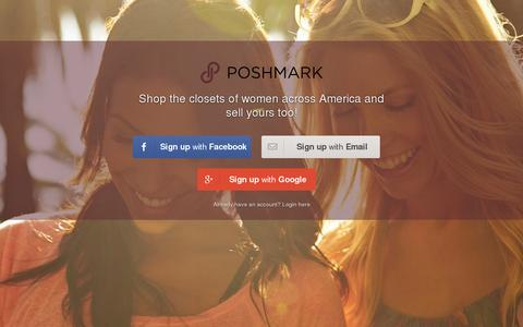 Screenshot of Home Page poshmark.com - Poshmark is a fun and simple way to buy and sell fashion - captured July 11, 2014