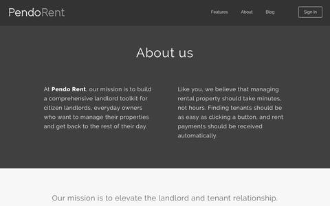 Screenshot of About Page pendorent.com - About Us | Pendo Rent - captured Sept. 29, 2014