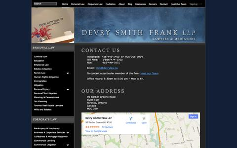 Screenshot of Contact Page devrylaw.ca - Contact Details for Devry Smith Frank LLP | Devry Smith Frank LLP - captured Oct. 5, 2014