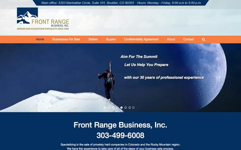 Screenshot of Home Page frontrangebusiness.com - Front Range Business, Inc. - Sell Colorado Businesses - captured Sept. 24, 2018