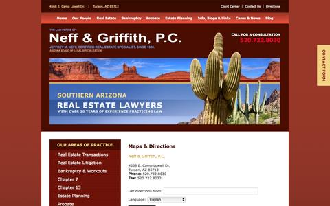 Screenshot of Maps & Directions Page nefflawaz.com - Directions to Neff & Griffith, P.C., Tucson - captured Oct. 2, 2014