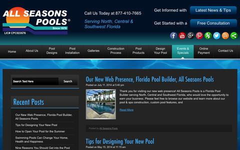 Screenshot of Press Page allseasonspools.com - pool builder news, All Seasons Pools - captured Oct. 29, 2014