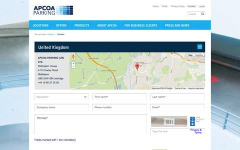 Screenshot of Contact Page Support Page apcoa.co.uk - Contact - APCOA PARKING - captured Oct. 23, 2014