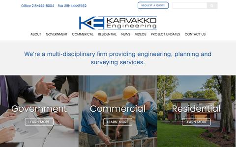 Screenshot of Home Page karvakko.com - Karvakko Engineering | Bemidji, MN, Engineering, Landscaping, Surveying - captured Nov. 3, 2015