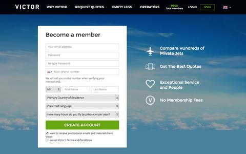 Screenshot of Signup Page flyvictor.com - Become a Member - captured Sept. 17, 2014
