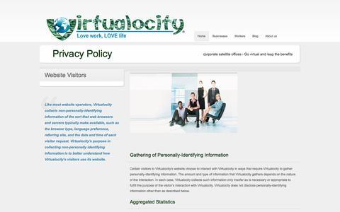 Screenshot of Privacy Page virtualocity.biz - Virtualocity Privacy Policy - captured Oct. 26, 2014