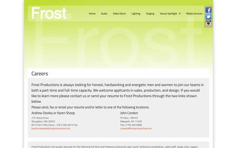 Screenshot of Jobs Page frostproductions.biz - Careers | Frost Productions - captured Oct. 1, 2014