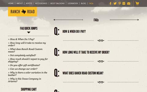 Screenshot of FAQ Page ranchroadboots.com - FAQs   Ranch Road Boots - captured Sept. 30, 2014