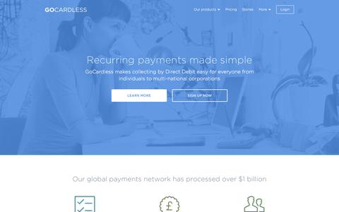 Screenshot of Home Page gocardless.com - The easiest way to collect recurring payments - GoCardless - captured Oct. 2, 2015