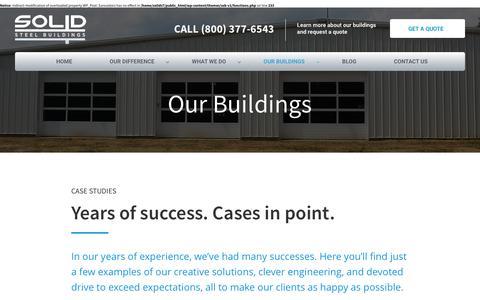 Screenshot of Case Studies Page solidsteelbuildings.com - Case Studies - Solid Steel Buildings - captured Feb. 15, 2016