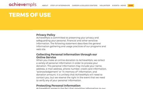 Screenshot of Terms Page achievempls.org - Terms of Use | AchieveMpls - captured May 29, 2017