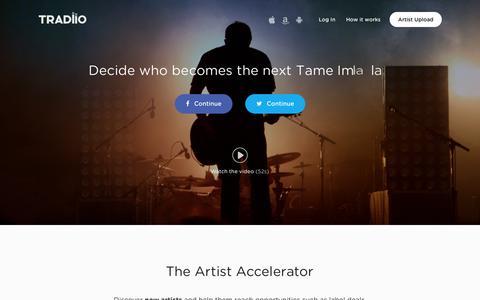 Screenshot of Home Page tradiio.com - Tradiio - captured Aug. 4, 2015