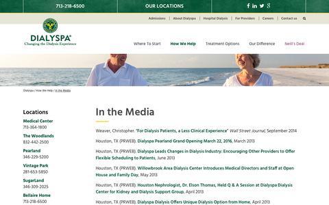 Screenshot of Press Page dialyspa.com - In the Media - Dialyspa - captured Oct. 12, 2017