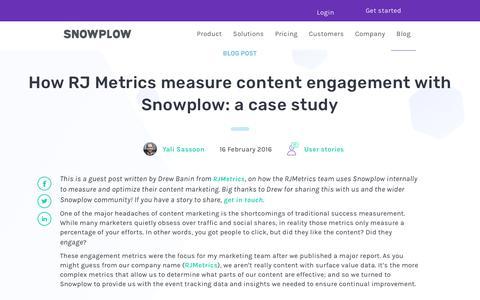 Screenshot of Case Studies Page snowplowanalytics.com - How RJ Metrics measure content engagement with Snowplow: a case study - captured Feb. 10, 2020