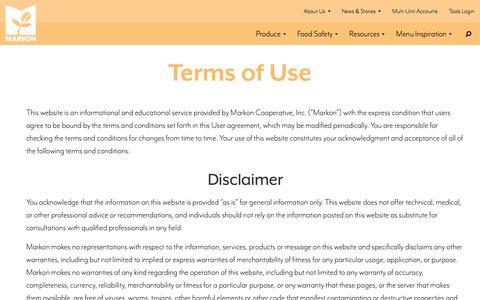Screenshot of Terms Page markon.com - Terms of Use   MARKON - captured June 10, 2017