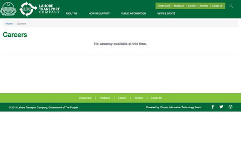 Screenshot of Jobs Page ltc.gop.pk - Careers | Lahore Transport Company - captured Nov. 9, 2018
