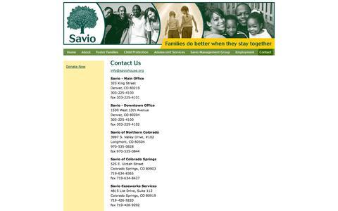 Screenshot of Contact Page saviohouse.org - SAVIO - Contact - Denver, Colorado - captured Sept. 30, 2014