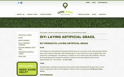 Screenshot of Products Page lionlawns.co.uk - Products For Laying Artificial Grass, Synthetic Turf, Fake Lawns - captured Jan. 23, 2016