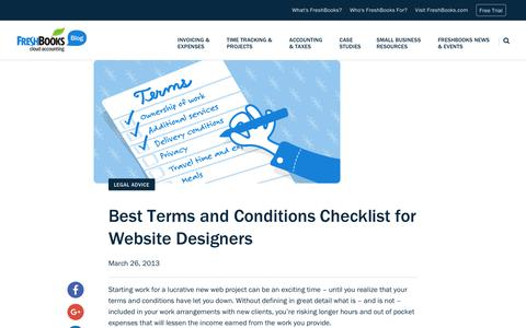 Screenshot of Terms Page freshbooks.com - Best Terms and Conditions Checklist for Website Designers | FreshBooks Blog - captured Dec. 5, 2017