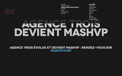 Screenshot of Home Page agencetrois.com - Agence de Communication Interactive - Agence Trois - captured Sept. 30, 2014