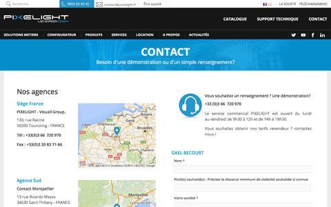 Screenshot of Contact Page pixelight.fr - Contact, Démonstration et SAV | PIXELIGHT - captured Sept. 26, 2018