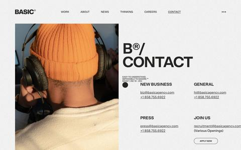 Screenshot of Contact Page basicagency.com - Contact Us | BASIC® - captured Feb. 25, 2020