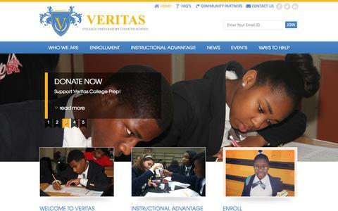 Screenshot of Home Page veritascollegeprep.org - Veritas - captured Sept. 18, 2015