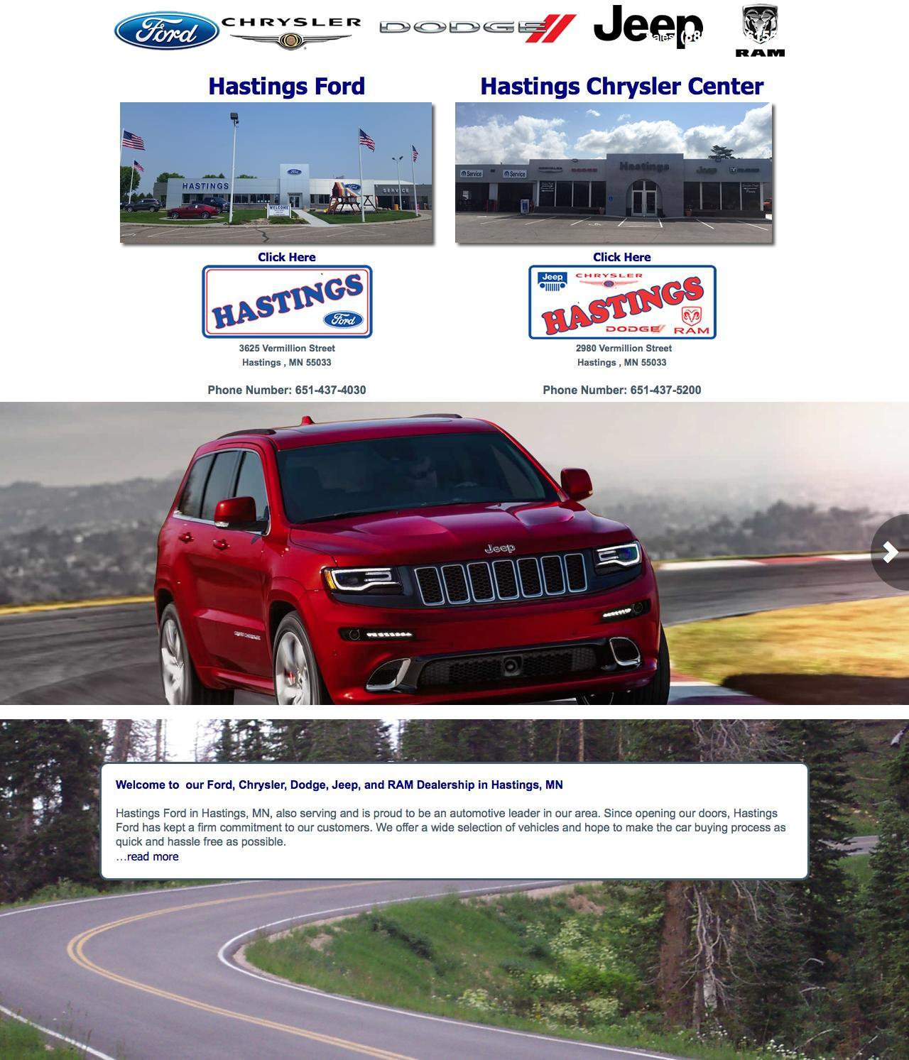 Chrysler Dealerships Mn >> Web Design Example A Page On Hastingsautos Com Crayon