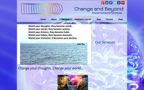 Screenshot of Services Page changeandbeyond.com - Change and Beyond Services - captured Nov. 3, 2016