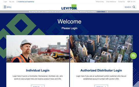 Screenshot of Login Page leviton.com - Login - captured Sept. 28, 2018