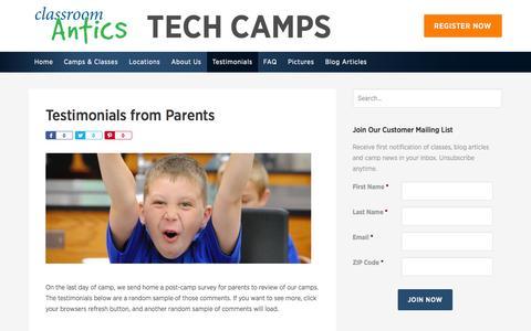 Screenshot of Testimonials Page classroomantics.com - Testimonials from Parents - Classroom Antics Tech Camps - captured Sept. 29, 2014
