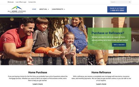 Screenshot of Home Page allhomelending.com - All Home Lending - captured Nov. 6, 2018