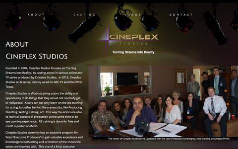 Screenshot of About Page cineplexstudios.com - Cineplex Studios - captured July 17, 2018