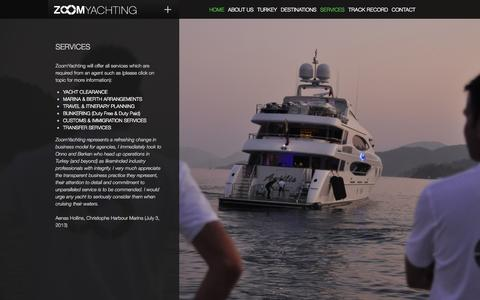 Screenshot of Services Page zoomyachting.com - ZOOMYACHTING - captured Oct. 27, 2014
