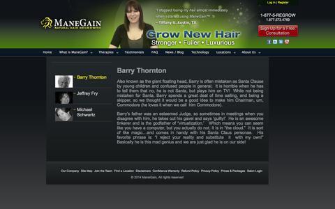 Screenshot of Team Page manegain.com - Barry Thornton | ManeGain - captured Sept. 30, 2014