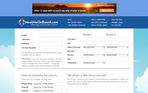 Screenshot of Signup Page meetmeonboard.com - Join Today - captured Jan. 17, 2016