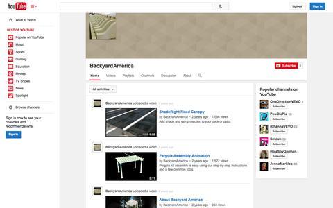 Screenshot of YouTube Page youtube.com - BackyardAmerica  - YouTube - captured Oct. 23, 2014